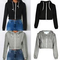 Women Casual Solid Crop Hoodie Zipper Sweatshirt Zip Cosy Hoody Dance Top Coat P