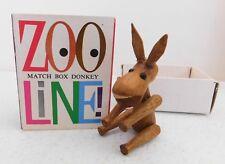 Vintage Zoo Line Matchbox Donkey Figurine Tag Mid-Century Mod Collectible!