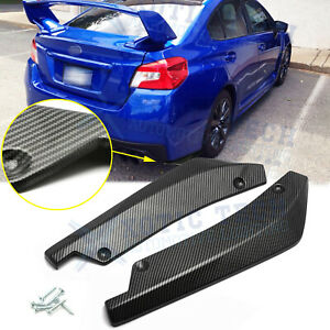 For Subaru WRX STI Rear Bumper Splitter Diffuser Canards - Carbon Fiber Texture