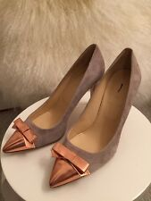 New J.Crew Everly Cap Toe Suede Pumps with Patent Bow 6.5 Tan Beige Heels $258