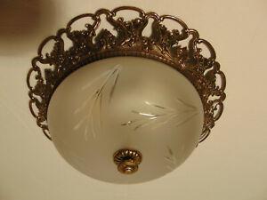 antik  2 Fl  Plafoniere Kronleuchter Bronze Gold Glas Frankr ca.1920