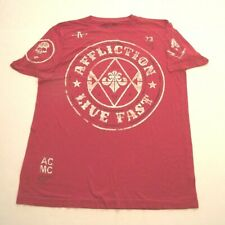 AFFLICTION LIVE FAST MEN'S LARGE RED GRAPHIC T-SHIRT (r)