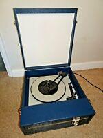 Vintage Retro 1970's Blue Leatherette Hard Cased Portable Fidelity Record Player