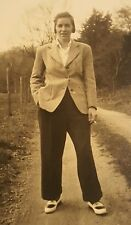 Lesbian Butch Girl Smoking Cigarette on Farm Road Upstate NY 1930s Photograph