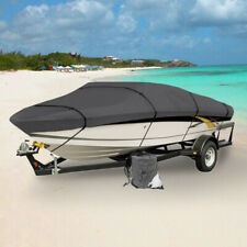WATERPROOF BOAT COVER V-HULL FISHING BOAT 14' 15' 16' FT GRAY STORAGE COVERS