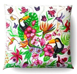 Taie Pour Coussin Décoratif Jardin Tropicale à la Main Design Exclusif