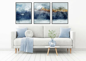 A4/A3 Prints Set of 3 Abstract Modern Wall Pictures Frame Posters Mountain Blue