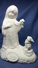 Ceramic Bisque Native American Girl with Bunny Doc Holiday Mold  Ready to Paint