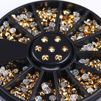 Nail Rhinestones Gold 3D Nail Art Decoration in Wheel Round  Crafts