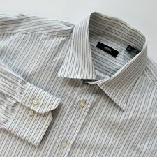Hugo Boss 16 34/35 Dress Shirt White with Grey and Blue Striped