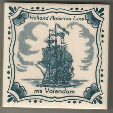 Holland America Line  Blue Delft Tile ...ms VOLENDAM  ..Vintage