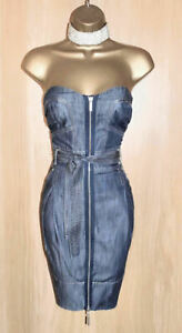 KAREN MILLEN RARE BLUE DENIM STAPLESS WIGGLE DRESS UK 10  RRP £140