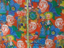 "Mexican Dia de Muertos Day of the Dead Orange Poly Fabric 36"" Wide  By 1/2 yard"