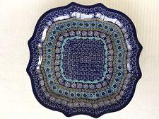 "NEW C.A. POLISH POTTERY 10"" X 10"" SERPENTINE TRAY/ PLATE-Blue Aztec Pattern"