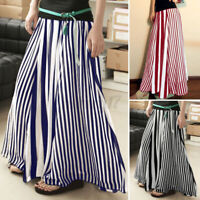 ZANZEA UK Womens Elastic Waist Flare Swing A-Line Skirt Striped Long Maxi Dress