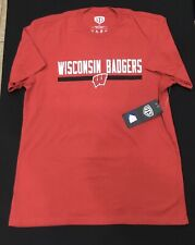 OTS RIVAL Wisconsin Badgers Adult Short Sleeve T Shirt Red White Size Large NWT