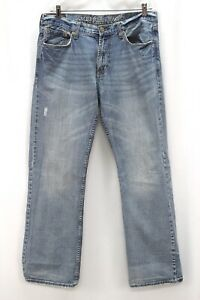 Hommes M Lavage American Eagle Jeans Vieilli Taille Basse Coffre Coupe 34 x 32