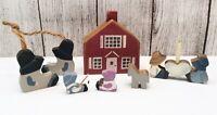 🔴 Vintage Small Wood Amish Hand Painted Primitive Folk Art Home Decor Lot