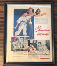 1949 STAN MUSIAL WHEATIES CEREAL BASEBALL AD HALL OF FAME HOF ~FRAMED~ Cardinals