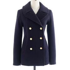 NWOT J.Crew Majesty Wool Peacoat Stadium Cloth in Navy Blue Gold Buttons 0 $298