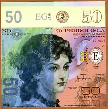 Perish Island (Mujand) 50 Corals 2015 UNC POLYMER Limited Issue Fantasy Note