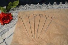 6 BELLES BROCHETTES A COCKTAIL METAL ARGENTE / POINCON A DEFINIR NON UTILISEES