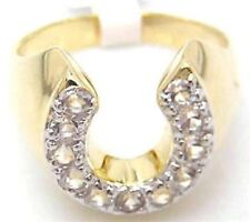 18K GOLD EP CZ ROUND CUT MENS LUCKY HORSE SHOE RING size 11 or V 1/2