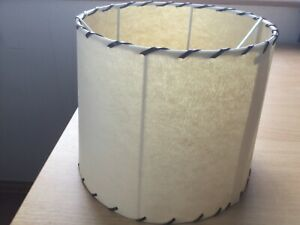 Beige Coloured Round Parchment Light Shade With Leather Lacing. Medium Size.