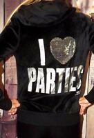 Victoria's Secret PINK medium I LOVE PARTIES bling black hoodie foil velour M