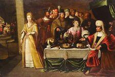 Huge 17th Century Flemish Old Master Head John Baptist Antique Oil Painting