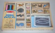 Melissa & Doug Wooden Stamp Set: Animals - 16 stamps, 7 colored pencils & pad