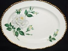 "Woods Ivory Ware White Rose 10-3/4"" Serving Platter Made in England"