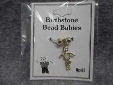 April Baby Birthstone Bead Babies Necklace Pendant Charm Gold Tone & Rhinestone