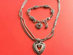 BRIGHTON  Double Silver Heart Dangling Charm Necklace and Bracelet SET Retired