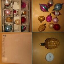 🌈10 VIntage 1950s Pretty Glass Christmas Tree Baubles Decorations Boxed