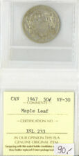 Canada 1947 50 Fifty Cents ICCS Certified VF-30 XSL 233 Maple Leaf