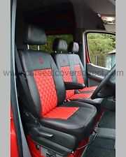 Mercedes Sprinter Van Tailored Seat Covers -  Black and Red Diamond (2nd Gen)