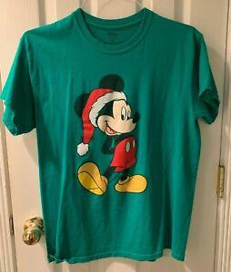 Disney Mickey Mouse Christmas T Shirt Size Medium Green