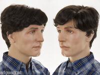 Short Natural Looking Left Side Skin Part Wavy Straight Brunette Grey Men Wig