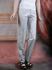$750 New CHLOE Pale Airplane Gray Cotton Linen Slim Leg Slacks Pants 42 10