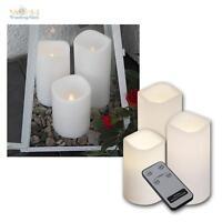 3er Set LED Kerze mit Timer & Fernbedienung, Außen Outdoor-Kerzen flammenlos