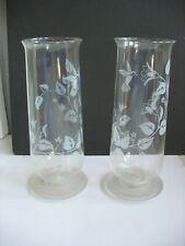 Pr Avon Etched Hummingbird Sconce Hurricane Globes w Candlesticks