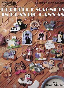 Purrfect Magnets, 16 Kitty Cat Fridgies Motifs plastic canvas pattern booklet