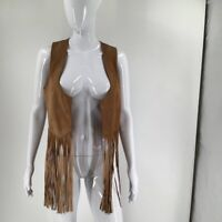 MINKPINK Womens Open Front Cropped Vest Brown Lined Fringe 100% Suede Leather M