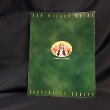 The Wizard Of Oz Continuity Script Production #1060 Turner Entertainment MGM-UA