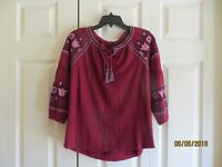 New Directions Womens Burgundy 3/4 Sleeve Floral Embroidery NWT Top Size PS