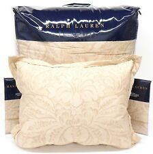RALPH LAUREN Fleur Du Roi QUEEN COMFORTER SET 4pc Floral GOLD TAN Cotton Sateen