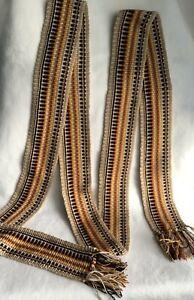 Brown thick belt, thick woven belt, handwoven thick sash, terracotta belt, beige