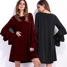 Ladies Fashion Flared Sleeve Crewneck Shirt Dress Party Casual Loose Mini Dress