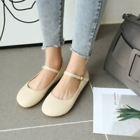 Womens Flats Buckle Round Toe Loafers Casual Lady Fashion Work Office Solid Shoe